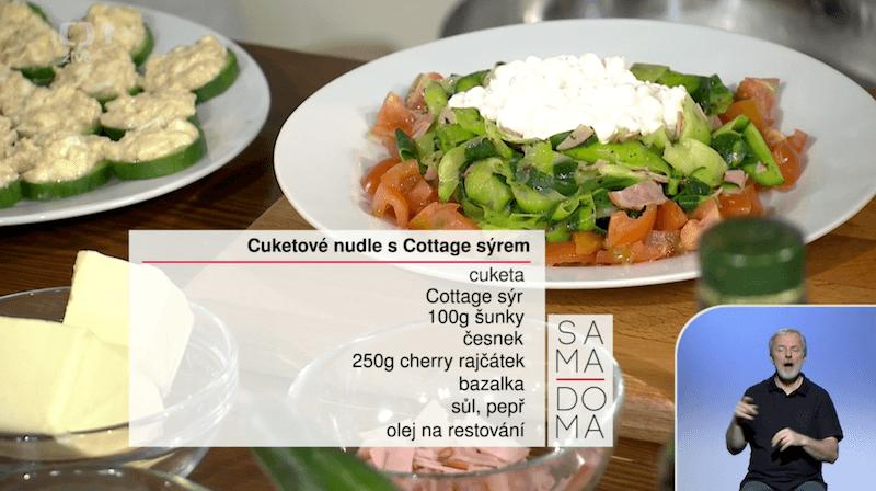 Zdravý recept na Cuketové nudle s Cottage sýrem